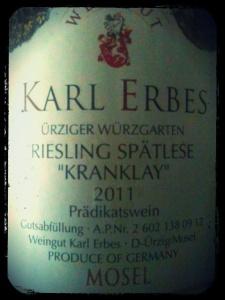 2011 Karl Erbes Ürziger Würzgarten Kranklay Riesling Spätlese