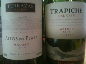 2010 Terrazas de los Andes Altos del Plata and 2010 Trapiche Oak Cask