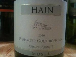 What I preferred: 2010 Kurt Hain Piesporter Goldtröpfchen Riesling Kabinett