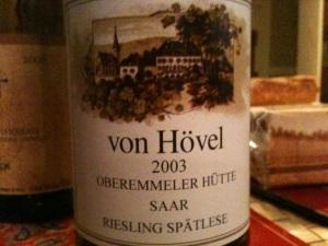 2003 von Hövel Oberemmeler Hütte Riesling Spätlese