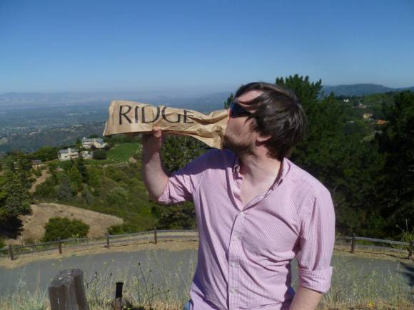 Goofing off, Silicon Valley in the background
