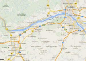 The Rheingau is north of the Rhine (Map from Google Maps)