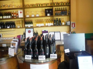 In the winery shop.