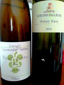 Rebholz Pinot Blanc and Schloss Hallburg Pinot Gris