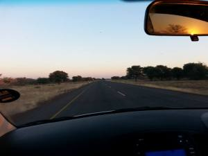 On the Trans Kalahari Highway, somewhere in the Kalahari, early in the morning.