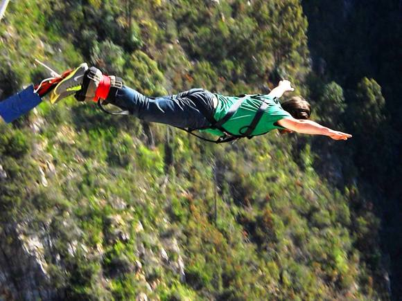 Jumping down 709 feet at Bloukrans Bridge, South Africa
