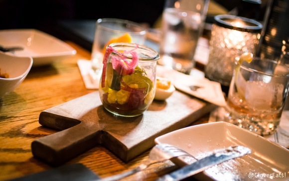 House-made pickles that paired very well with their rillette.