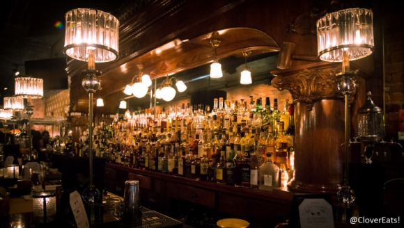 A well-stocked bar at The Ravens Club