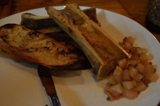 Kudos to chef Frank for putting roasted bone marrow on the menu. Unique, glibbery, and very tasty.