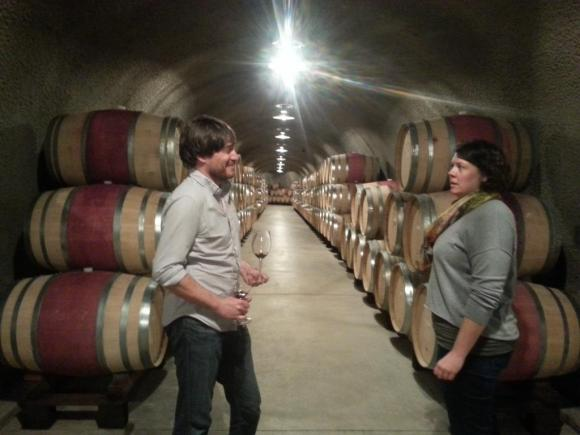 Inside Ladera's modern cellar